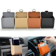 Auto Car Outlet Air Vent Pu Leather Box Organizer Phone Storage Pocket Holder