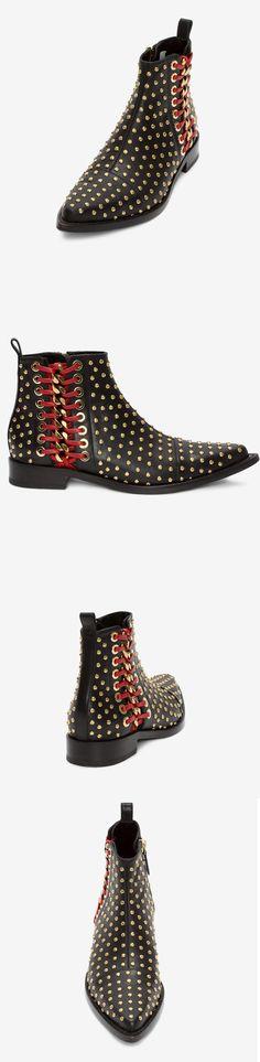 Shoespie Cross Strap Rivet Sequin Side Zipper Block Heel Ankle Boot|Material:Leather