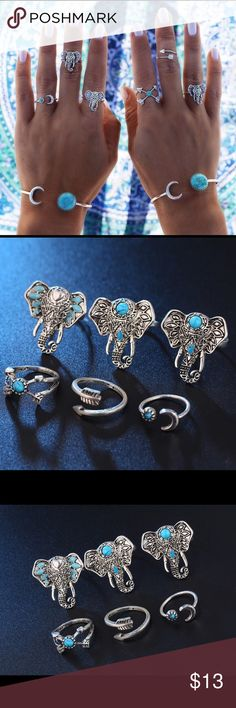 6 PCS Bohemian Vintage Rings Set of 6 pieces rings and mid rings. Silver with turquoise details. Sizes are shown in pictures attached. 3 elephant rings are adjustable others are not. Cute summer vibe 💍 ☀️ Jewelry Rings