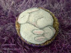 White rabbits,painted rock,baby bunny,sleeping bunnies,purple basket,Easter gift,cute bunny,two white rabbits,painted rabbits,small rock art