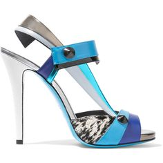 Fendi Anita paneled calf hair and leather sandals ($500) ❤ liked on Polyvore featuring shoes, sandals, blue shoes, scarpe, blue, high heel shoes, platform sandals, blue sandals, slip-on shoes and slip on shoes