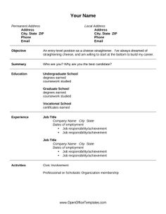 great for aspiring employees and recent graduates this printable resume is great for seeking entry