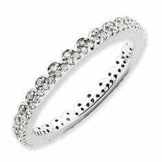 Stackable Diamond Eternity Wedding Band in Sterling Silver
