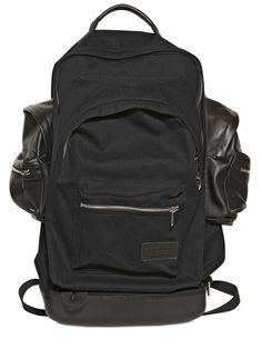 EASTPAK BY KRIS VAN ASSCHE - COTTON CANVAS AND LEATHER BACKPACK - LUISAVIAROMA - FLORENCE