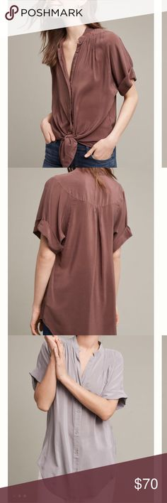 """Maeve Silk Blouse Beautiful plum colored, 100% silk top.  Great pleated detailed. Measures 25.5"""" in length.  Last pic is to show front untied. Anthropologie Tops Blouses"""
