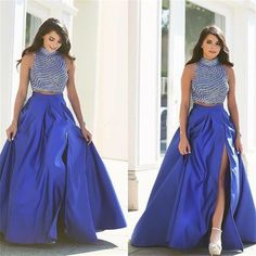 Find More Prom Dresses Information about 2016 Royal Blue Two Piece Prom Dresses…