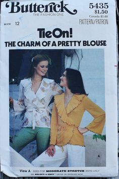 Butterick 5435 1970s 70s Wrap Top Shirt by EleanorMeriwether