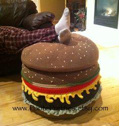 Crocheted Cheeseburger Ottoman PATTERN on Etsy, €3,76