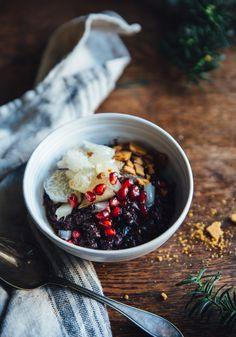 Black Rice Porridge with Pomelo, Ginger Snaps & Ginger Syrup | Cashew Kitchen