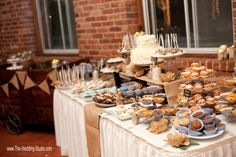 A sweets table to die for! Chic, rustic country theme sweets table at the Starline Factory in Harvard. Photographed by The Wedding Studio, Schaumburg IL