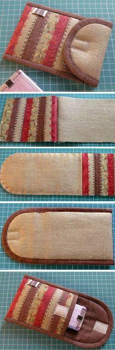 Sew a Purse-Phone Case. Tutorial DIY in Pictures.  http://www.handmadiya.m/2015/11/purse-phone-case.html