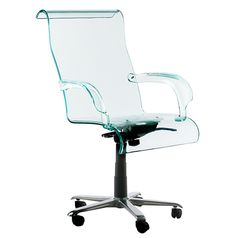 EXEC  Swivel Office Chair With Acrylic Seating And Armrest;  Height Adjustable, Centrally