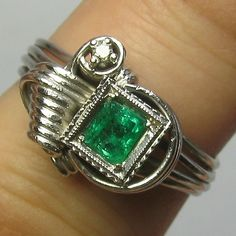 Laura's lifeintheknife on Ruby Lane: Vintage Retro 10K White Gold Diamond & Emerald Ring