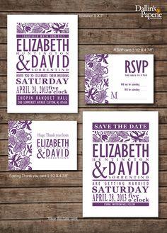 Damask purple flower Wedding Invitation RSVP Thank you card Save the date DIY Printable - Customized via Etsy