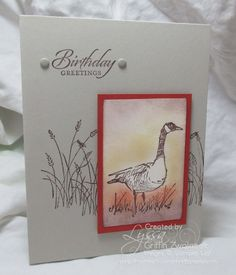 the Wetlands stamp set from Stampin' Up! makes great masculine cards. Masculine Birthday Cards, Birthday Cards For Men, Handmade Birthday Cards, Masculine Cards, Card Birthday, Birthday Bash, Scrapbooking, Scrapbook Cards, Sympathy Cards