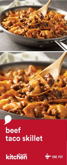 The flavors of the Southwest come alive in this easy skillet dinner recipe featuring ground beef, picante sauce, tortillas, and Cheddar cheese. This Beef Taco Skillet is a family favorite that's on the table in just 25 minutes.