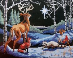 Silent Night Xmas Star Bethlehem Animal Woodland Counted Cross Stitch Kit CCS #natureswindow #Frame