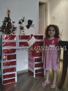Lareira feita com caixa de papelão Passo-a-Passo AQUI>>> http://coisas-da-lara.blogspot.com/2014/11/lareira-de-caixa-de-papelao.html