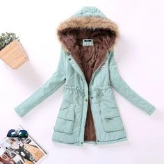 Parkas Women's Winter Coat Cotton Jacket Hooded Outwear