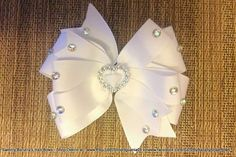 Pretty in Bling White Hair Bow by Sammy Banany's Hair by iguania03, $8.00 White Hair Bows, Pretty Hairstyles, Headbands, Hair Beauty, Bling, Trending Outfits, Unique Jewelry, Handmade Gifts, Hair Styles