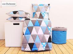 Decke Triangel Patchwork  Blau