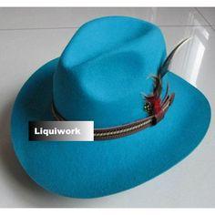 Men Women Aqua Blue Western Cowboy Cowgirl Fashion Dress Fedora Hat SKU-159038