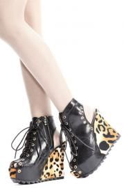 Peep Toe Lace-up Cut Out Wedges - Shoes