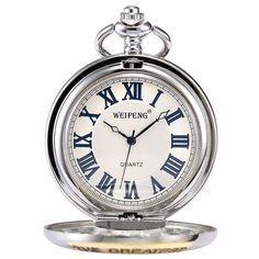 Pocket Watch, Mechanical, Analog, Silver Case #Affiliate
