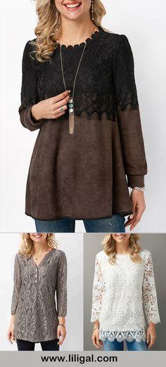lace, lace panel, lace blouse, lace panel blouse, lace long sleeve blouse