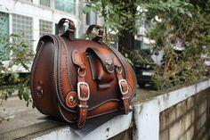 hand-made custom SaddleBag leather brown saddle bag softail chopper motorcycle | eBay!