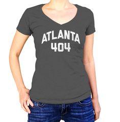 Women's Atlanta 404 Area Code Vneck T-Shirt - Juniors Fit