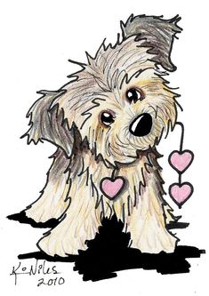 Border Terrier Heart Strings Drawing  -   Artist: Kim Niles
