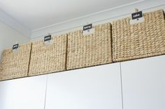 storage baskets above kitchen cabinets (party ware, paper plates, napkins, rarely used items, etc.) // atypicaltypeA