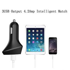 $5.59 (60% Off) on LootHoot.com - Powerful 3 USB Port Car Charger with LED Indicator for Sumsung Galaxy S6 Mobile Phone Apple Pad Devices etc (Black)