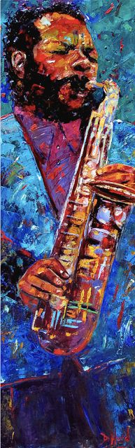 "Daily Painters Abstract Gallery: Colorful Jazz Art Music Art Painting ""Ornette Coleman"" by Texas Artist Debra Hurd"