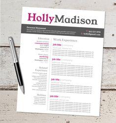 instant download resume design template microsoft word editable pink black