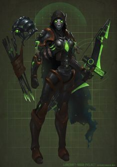 "Sylvanas Windrunner ""Warcraft 40000 project"", Alexey Kruglov on ArtStation at https://www.artstation.com/artwork/3Nnkv"