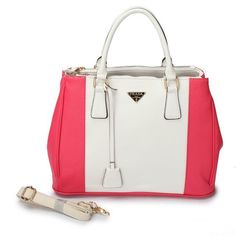 7ec85cdd358a Cheap Prada Saffiano White Red Bicolor Double Zip Tote Pin It