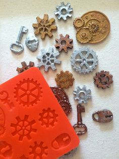 steampunk, gears, watch parts silicone rubber mold - 9 designs - resin, polymer clay, mod melts, candy, utee, plaster, wax, soap, epoxy clay...