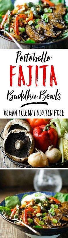 Portobello Fajita Buddha Bowls - spicy fajita goodness in a super healthy Buddha bowl!
