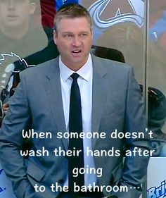 Patrick Roy looks disgusted! hehe Colorado Avalanche