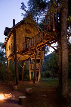 "Treehouse with interior photos, too. - The siding is wavy-edge knotty pine, selected for its natural feel. ""Very often you see straight-edge siding here, but this creates another ..."