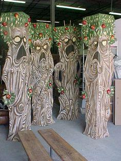 Folded cardboard trees