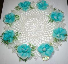 Retro Plastic Lace Doily Blue Flowers