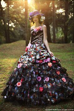 【楽天市場】【送料無料】ウェディングドレス_ウエディングドレス_カラードレス_お花ドレス(c096):ブライダルアモーレ