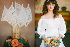 """Fabulous flowers and event decor on this """"Spanish Bridal + Mexican Pastels"""" wedding.  Click through to the website and look at all the photos.  Oh, and the groom--yes, please."""