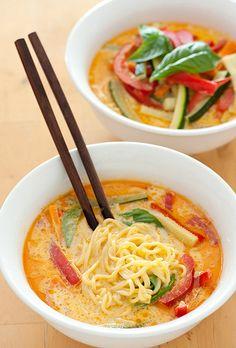 Noodle Laksa Veggie Soup - I wonder if this would work with ramen noodles??