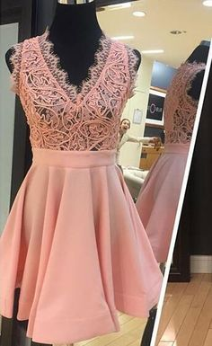 v neck prom dresses, prom dresses short with lace