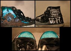 Doing some Pierce the Veil shoes for a customer they are turning out so freaking hard took me 5 hours to do that one shoe and i keep working on it on an. Pierce The Veil shoes Band Merch, Band Tees, Walk In My Shoes, Me Too Shoes, Pierce The Veil Quotes, Mode Renaissance, Taylors Gang, Chuck Taylors, Nike Runners