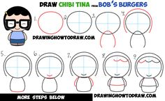 How to Draw Chibi Kawaii Tina from Bob's Burgers Easy Step by Step Drawing…